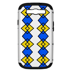 Blue Yellow Rhombus Pattern Samsung Galaxy S Iii Hardshell Case (pc+silicone)