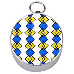 Blue Yellow Rhombus Pattern Silver Compass