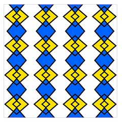 Blue Yellow Rhombus Pattern Satin Scarf