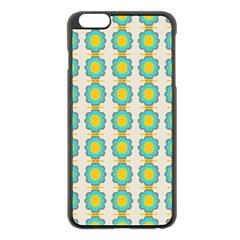 Blue Flowers Pattern Apple Iphone 6 Plus Black Enamel Case