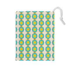 Blue Flowers Pattern Drawstring Pouch