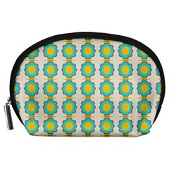 Blue Flowers Pattern Accessory Pouch