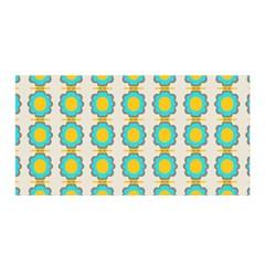 Blue Flowers Pattern Satin Wrap