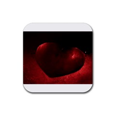 Red Heart Rubber Square Coaster (4 Pack)