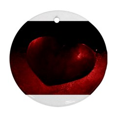 Red Heart Round Ornament (two Sides)