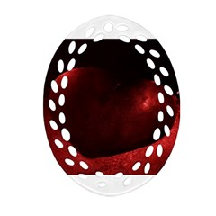 Red Heart Oval Filigree Ornament (2 Side)