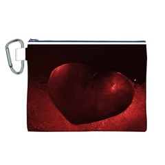 Red Heart Canvas Cosmetic Bag (L)