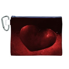 Red Heart Canvas Cosmetic Bag (XL)