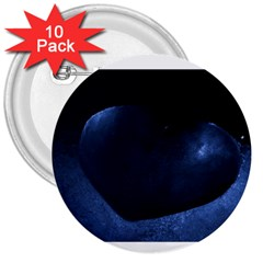 Blue Heart Collection 3  Buttons (10 Pack)