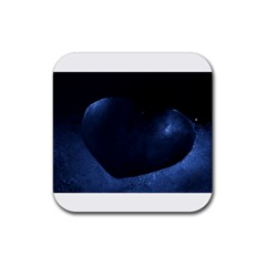 Blue Heart Collection Rubber Coaster (square)