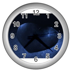 Blue Heart Collection Wall Clocks (silver)