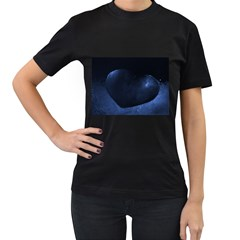 Blue Heart Collection Women s T-Shirt (Black) (Two Sided)