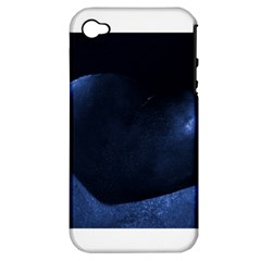 Blue Heart Collection Apple Iphone 4/4s Hardshell Case (pc+silicone)