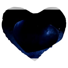 Blue Heart Collection Large 19  Premium Flano Heart Shape Cushions