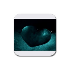 Teal Heart Rubber Coaster (square)