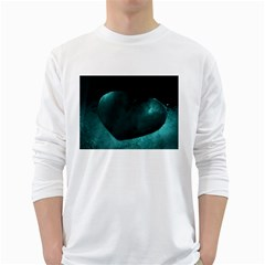 Teal Heart White Long Sleeve T Shirts