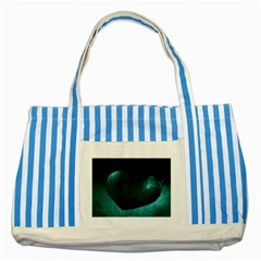 Teal Heart Striped Blue Tote Bag