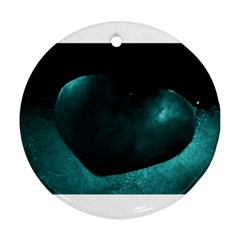 Teal Heart Round Ornament (two Sides)