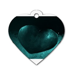 Teal Heart Dog Tag Heart (one Side)