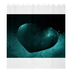 Teal Heart Shower Curtain 66  X 72  (large)