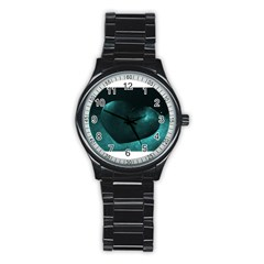 Teal Heart Stainless Steel Round Watches