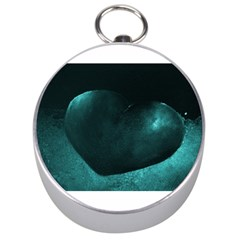 Teal Heart Silver Compasses