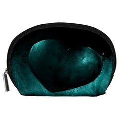 Teal Heart Accessory Pouches (large)