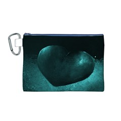 Teal Heart Canvas Cosmetic Bag (M)