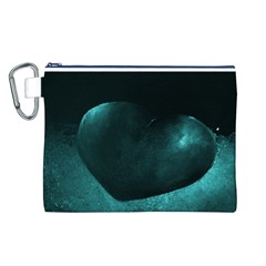Teal Heart Canvas Cosmetic Bag (L)