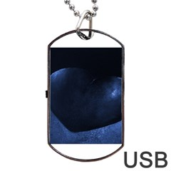 Blue Heart Collection Dog Tag USB Flash (One Side)