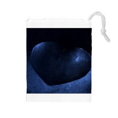 Blue Heart Collection Drawstring Pouches (Large)