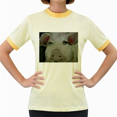Piggy No  1 Women s Fitted Ringer T Shirts