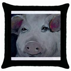 Piggy No  1 Throw Pillow Cases (black)