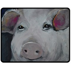 Piggy No  1 Double Sided Fleece Blanket (medium)
