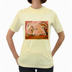 Piggy No.3 Women s Yellow T-Shirt