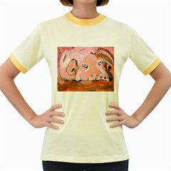 Piggy No.3 Women s Fitted Ringer T-Shirts