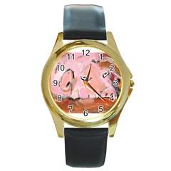 Piggy No 3 Round Gold Metal Watches