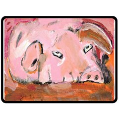 Piggy No 3 Double Sided Fleece Blanket (large)