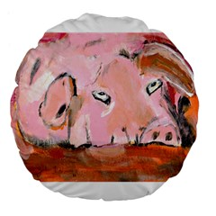 Piggy No 3 Large 18  Premium Flano Round Cushions