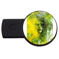 Green Mask Usb Flash Drive Round (2 Gb)
