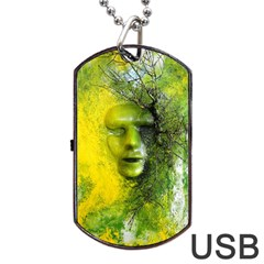 Green Mask Dog Tag Usb Flash (one Side)