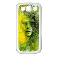 Green Mask Samsung Galaxy S3 Back Case (white)