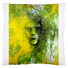 Green Mask Large Flano Cushion Cases (One Side)