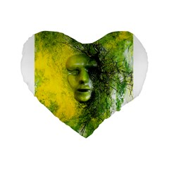 Green Mask Standard 16  Premium Flano Heart Shape Cushions