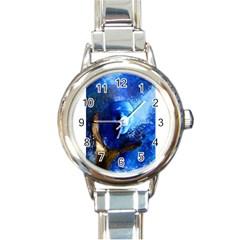 Blue Mask Round Italian Charm Watches