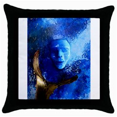 Blue Mask Throw Pillow Cases (black)