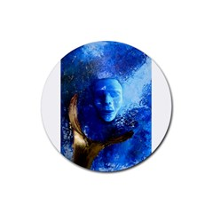 Blue Mask Rubber Round Coaster (4 Pack)