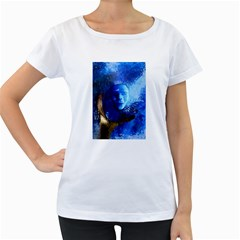 BLue Mask Women s Loose-Fit T-Shirt (White)