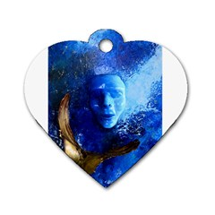 Blue Mask Dog Tag Heart (two Sides)