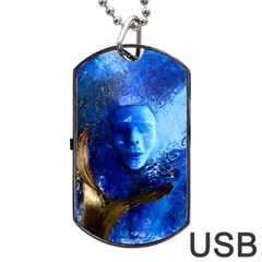 Blue Mask Dog Tag Usb Flash (one Side)